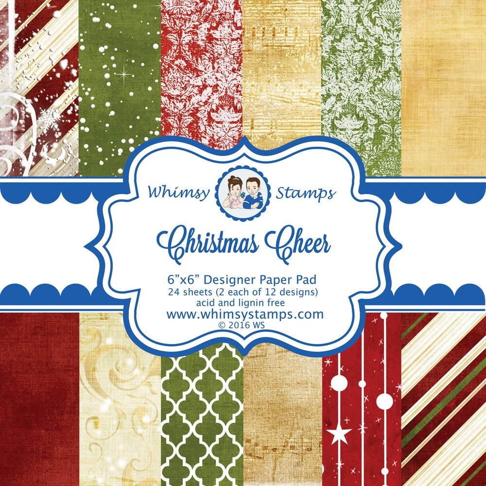 Whimsy Stamps - Christmas Cheer 6x6 Designer Paper - Paper Packs and Enamel Dots