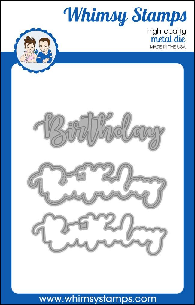 Whimsy Stamps - Birthday Word and Shadow Die Set