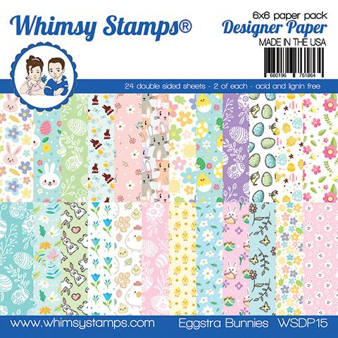 Whimsy Stamps - 6x6 Paper Pack - Eggstra Bunnies