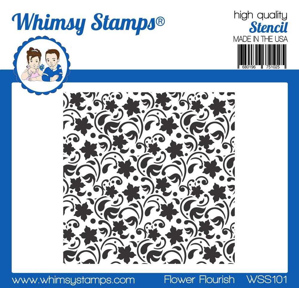 Whimsy Stamps - Flower Flourish Stencil