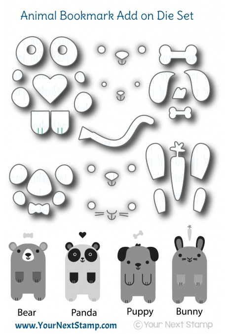 Your Next Stamp - Cute Animals Add On Bookmark die set