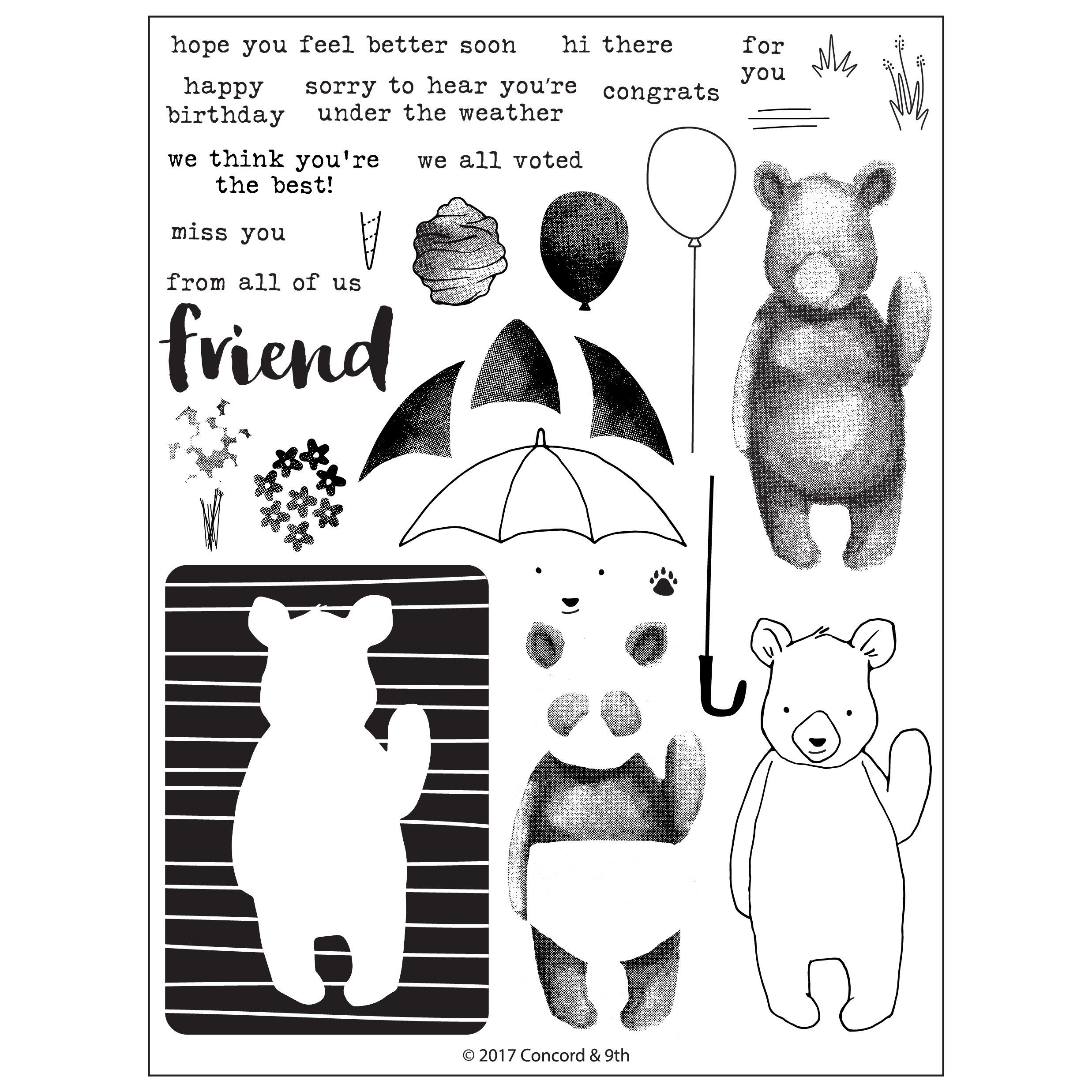 *NEW* - Concord & 9th - Hi There Bear Stamp