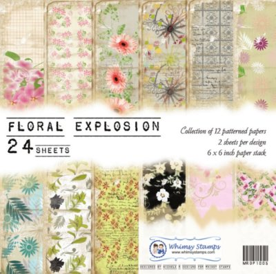 Whimsy Stamps - Floral Explosion 6 x 6 Papers - Paper Packs and Enamel Dots