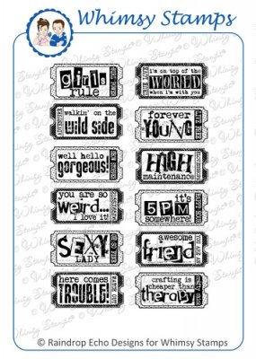 Whimsy Stamps - The Fun Life Tickets 2 - Sentiments Collection