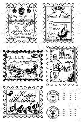 Whimsy Stamps - Holiday Postage Stamps - Sentiments Collection