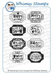 ###Whimsy Stamps - Holiday Sliders 3 - Sentiments Collection