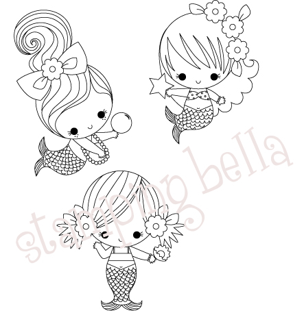 Stamping Bella - 3 Baby Mermaids under the Sea