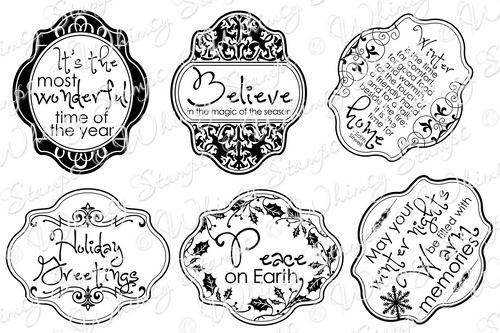 Whimsy Stamps - Tis The Season Notables 5 - Sentiments Collection